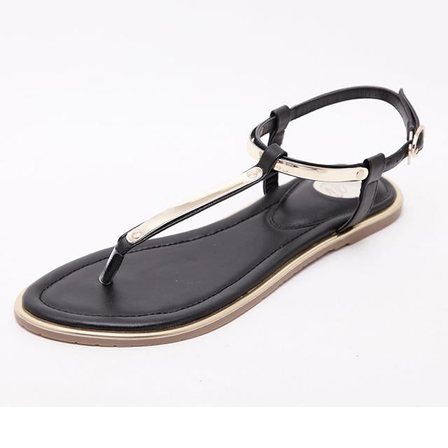 YIKUYUBO 2019 Fashion Flat Sandals For Women Summer Ladies Pumps Buckle Strap Sandal Shoes Black Big Size Beach Woman Sandals