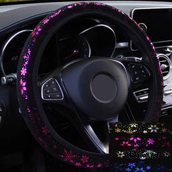 LEEPEE 4 Colors Car Steering-wheel Covers Car Steering Wheel Cover Shiny Snowflake  Car Accessories Universal Diameter 38cm