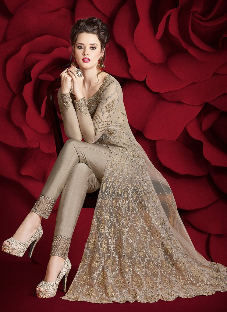 TAUPE HEAVY EMBROIDERED NET ANARKALI SUIT