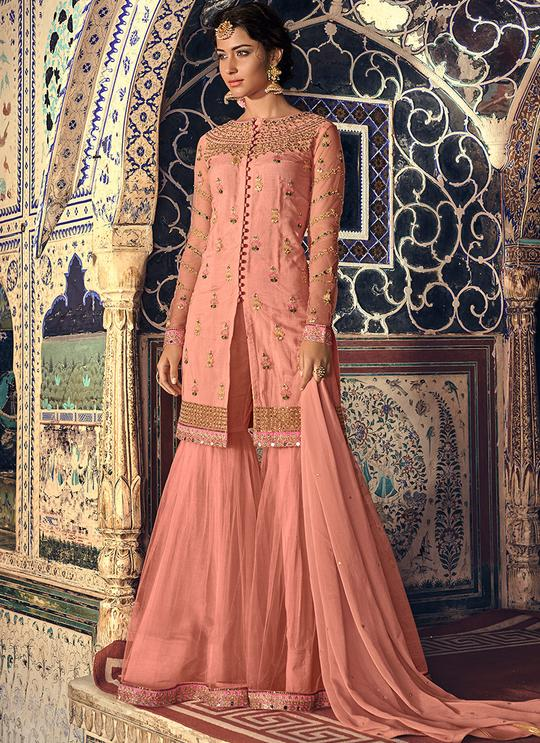 PEACH EMBROIDERED NET GHARARA SUIT