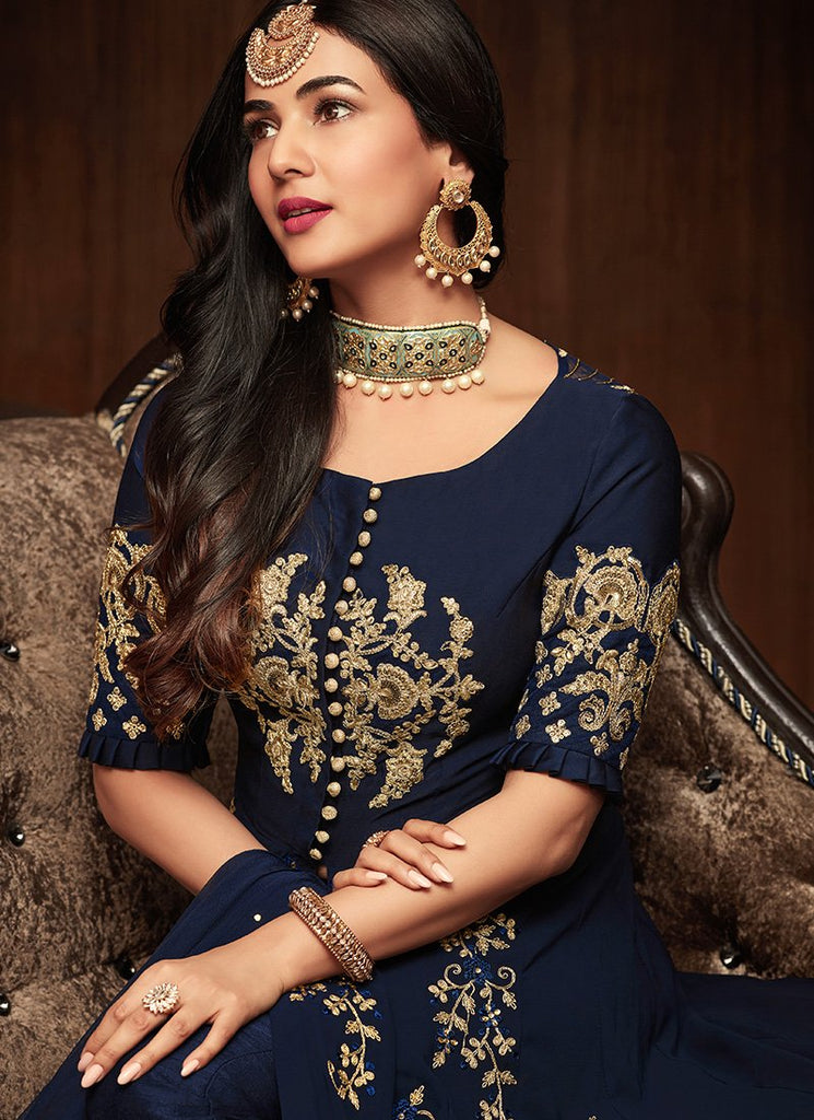 DEEP BLUE AND GOLD EMBROIDERED GEORGETTE ANARKALI