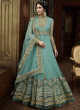 LIGHT BLUE EMBROIDERED ANARKALI