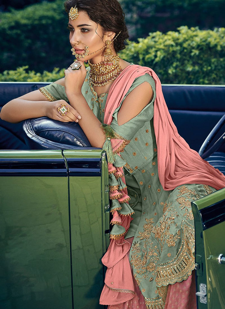 MINT GREEN AND PINK GHARARA SUIT