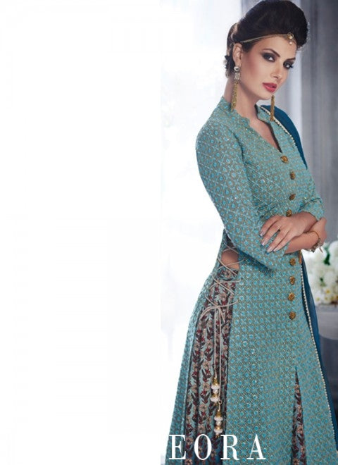Jacket style dress with shaded ghaghra concept.