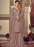 DUSTY LAVENDER EMBROIDERED GEORGETTE GHARARA SUIT