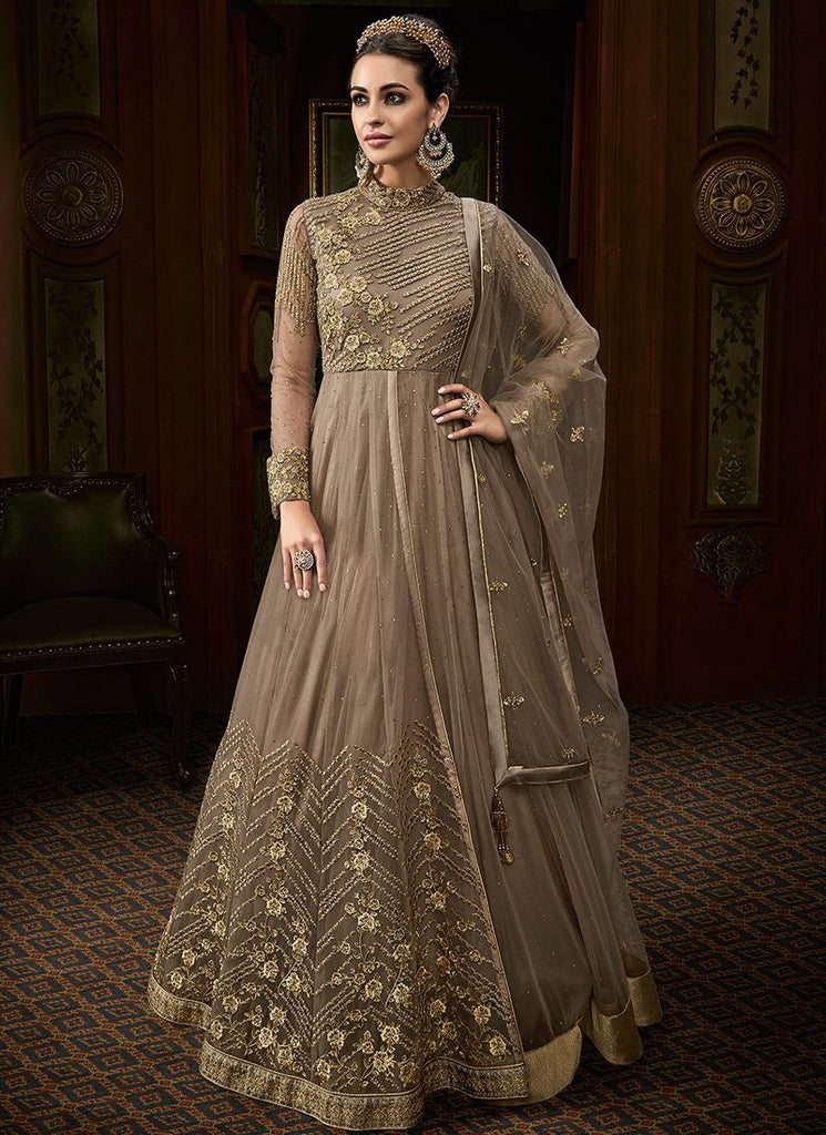 BEIGE HEAVY EMBROIDERED ANARKALI