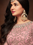 LIGHT PINK HEAVY EMBROIDERED NET ANARKALI