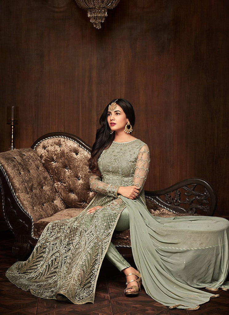 DUSTY GREEN EMBROIDERED NET ANARKALI
