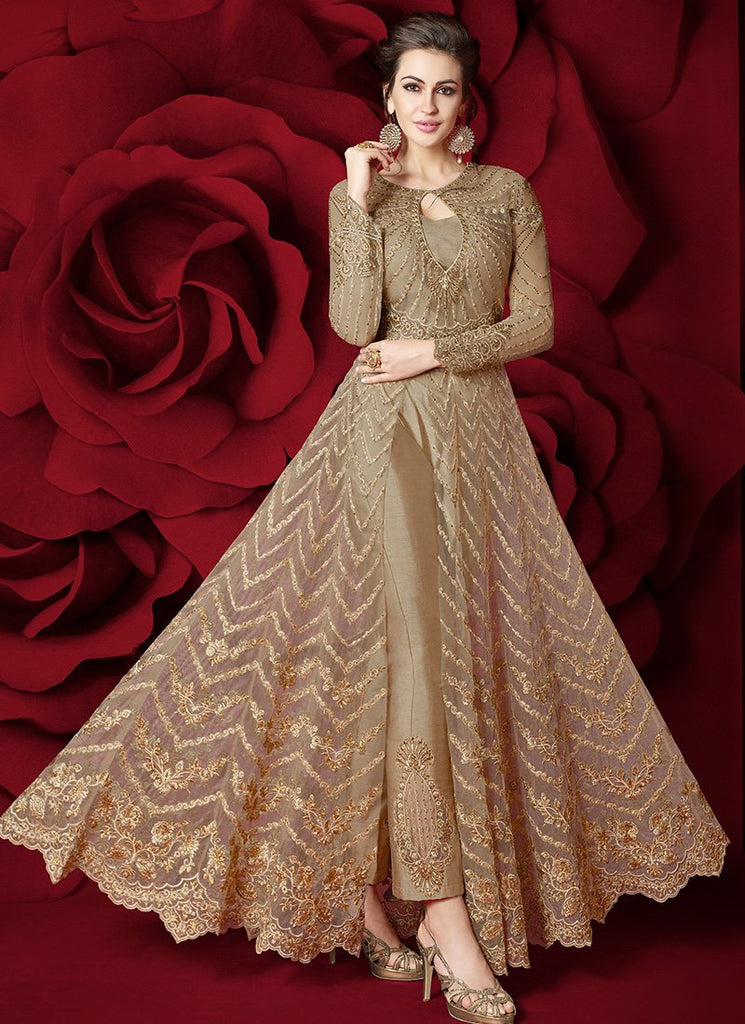 BEIGE HEAVY EMBROIDERED PANT STYLE ANARKALI