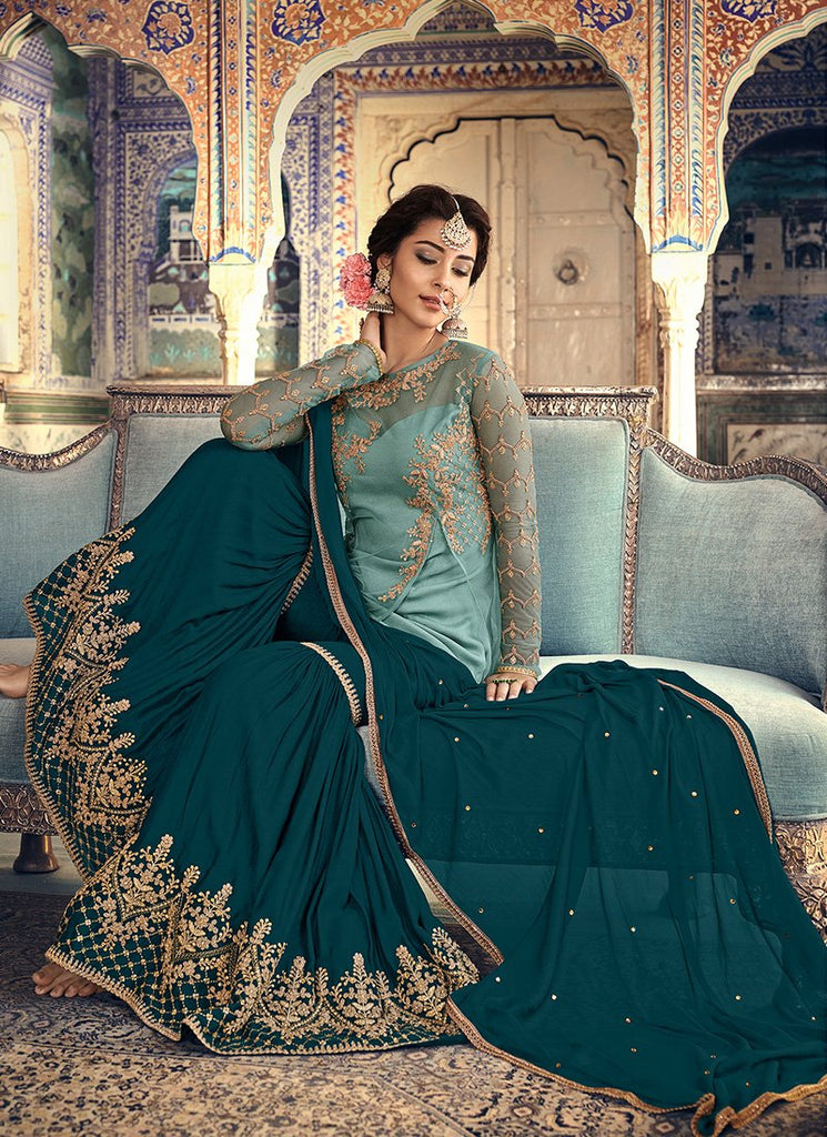 BABY BLUE AND DARK BLUE EMBROIDERED GHARARA SUIT