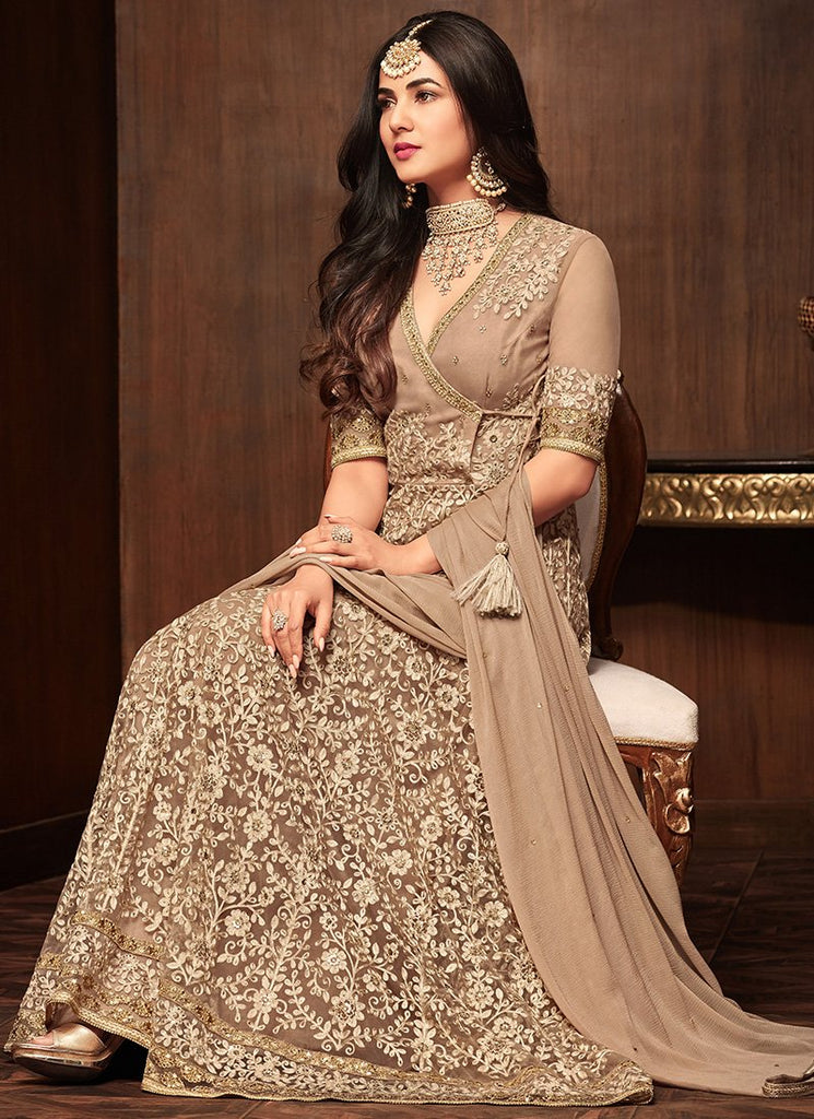 NUDE BEIGE HEAVY EMBROIDERED ANARKALI
