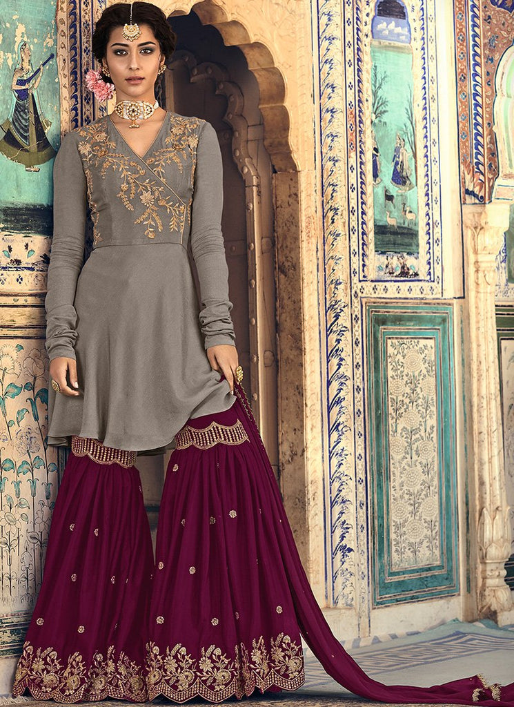 GREY AND RED EMBROIDERED GEORGETTE GHARARA SUIT