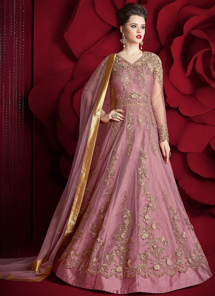 PINK AND GOLD HEAVY EMBROIDERED NET ANARKALI SUIT