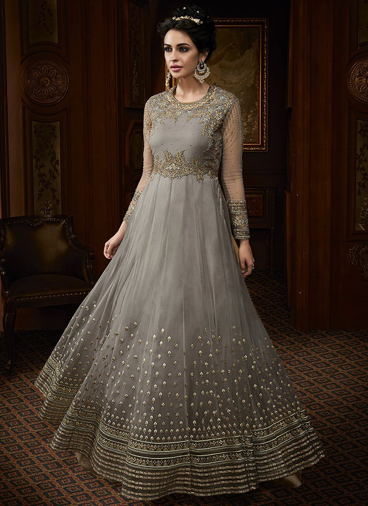 DUSTY BLUE GREY EMBROIDERED ANARKALI