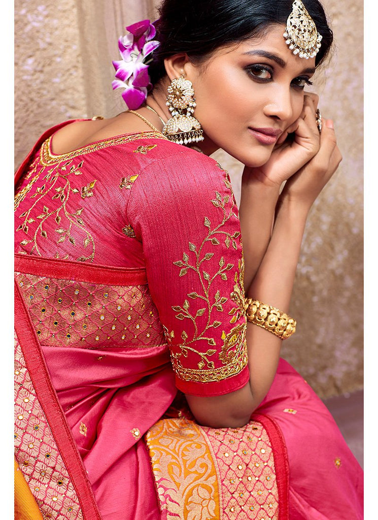 PINK AND ORANGE PURE BANARSI SILK SAREE