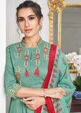 Adorable Sea Green Casual Wear Readymade Palazzo Style Suit