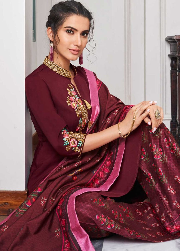 Enamoring Maroon Casual Wear Readymade Palazzo Style Suit