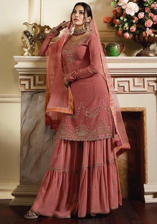 Pink Pure Satin With Georgette Sharara Suit