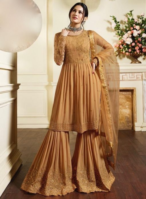 Peach Pure Georgette Sharara Suit