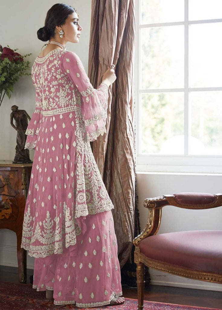 Pleasing Pink Partywear Sharara Style Suit