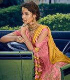 PINK AND YELLOW EMBROIDERED GHARARA SUIT