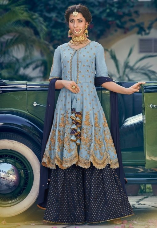 MINT BLUE EMBROIDERED GHARARA SUIT