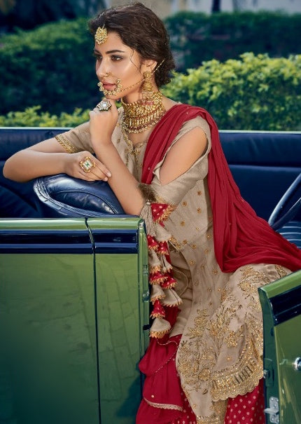 BEIGE AND RED EMBROIDERED GHARARA SUIT