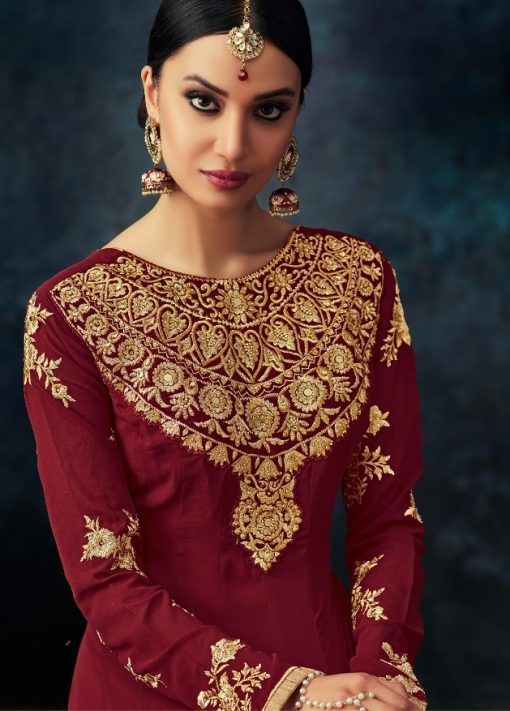 Maroon Embroidered Abaya Style Anarkali Suit