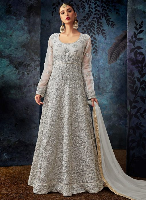 Silver Embroidered Abaya Style Anarkali Suit