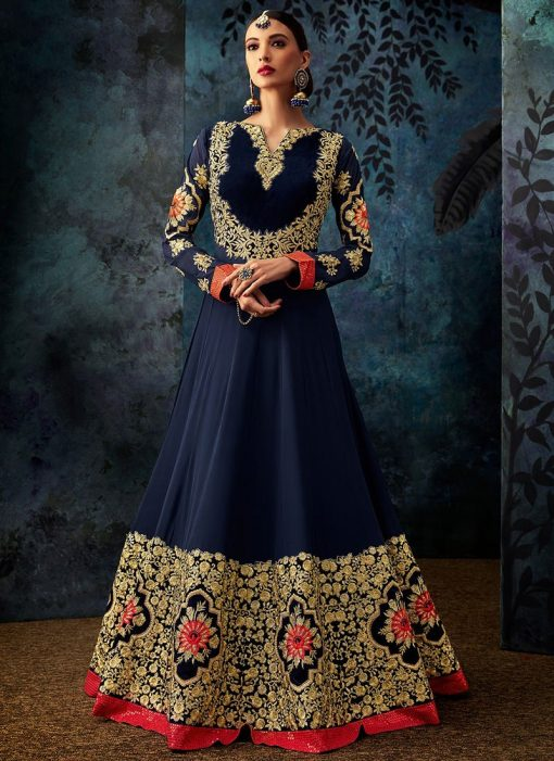 Navy Blue Embroidered Abaya Style Anarkali Suit