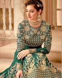 Emerald Green Abaya Style Anarkali Suit