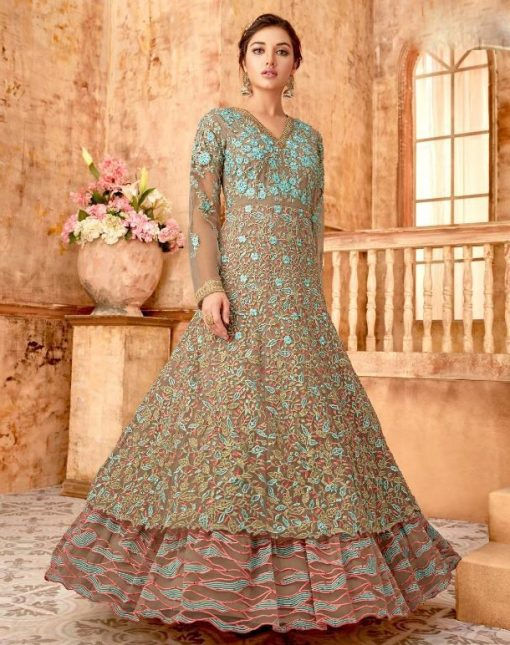 Sky Blue Double Layered Abaya Style Anarkali Suit