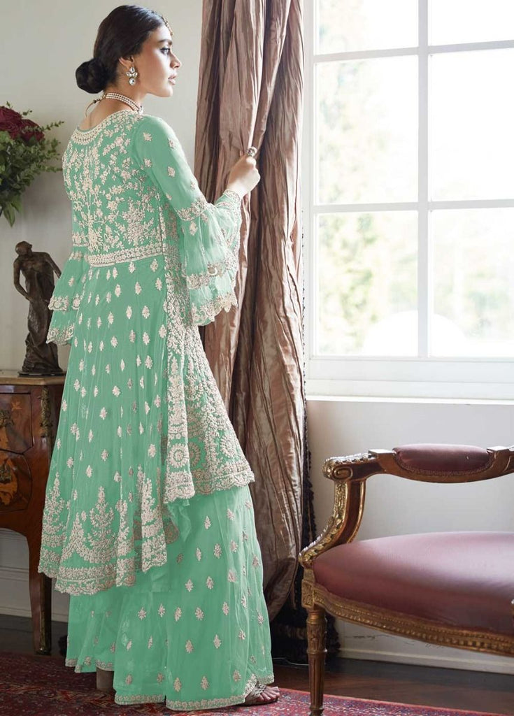 Amazing Sea Green Partywear Sharara Style Suit