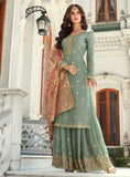 Sage Green Straight Cut Sharara Suit