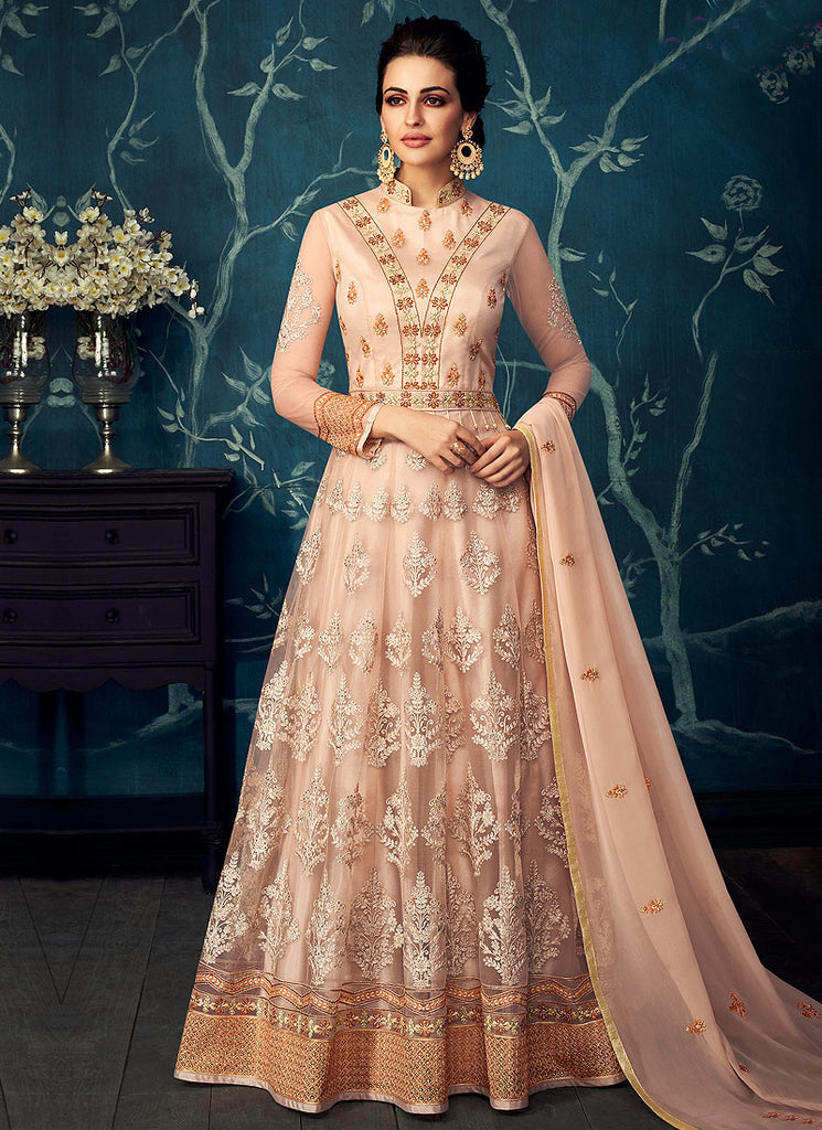 Light Beige and Gold Embroidered Anarkali