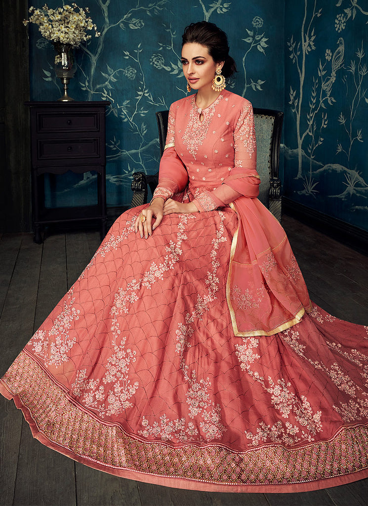 Pink Floral Embroidered Anarkali