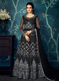 Black and Grey Embroidered Anarkali