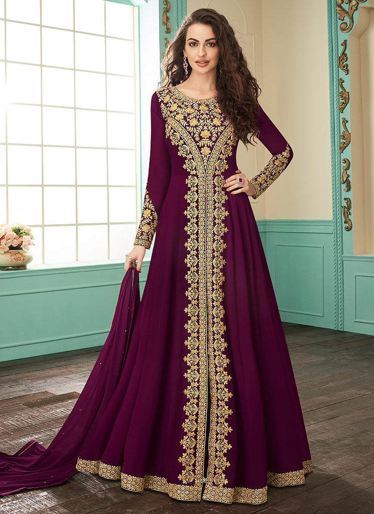 Magenta and Gold Embroidered Pant Style Anarkali