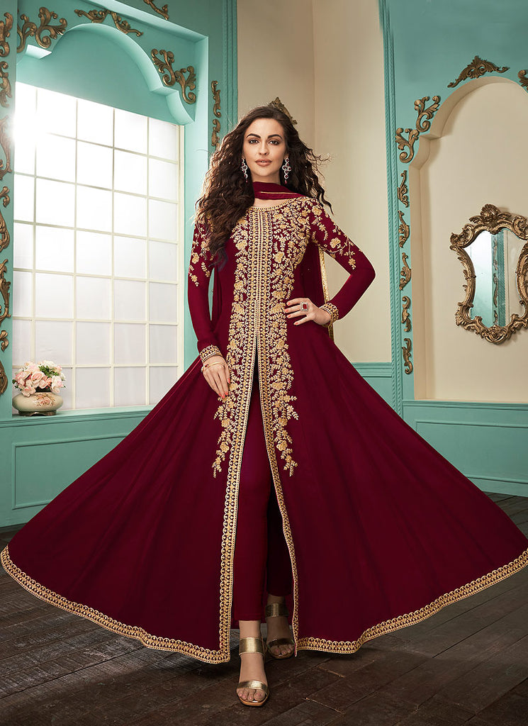 Maroon and Gold Embroidered Pant Style Anarkali