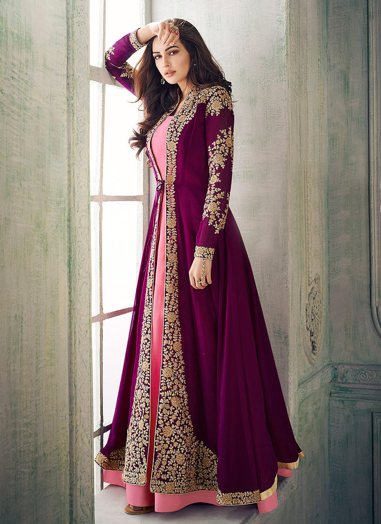 Purple and Pink Embroidered Jacket Style Anakali