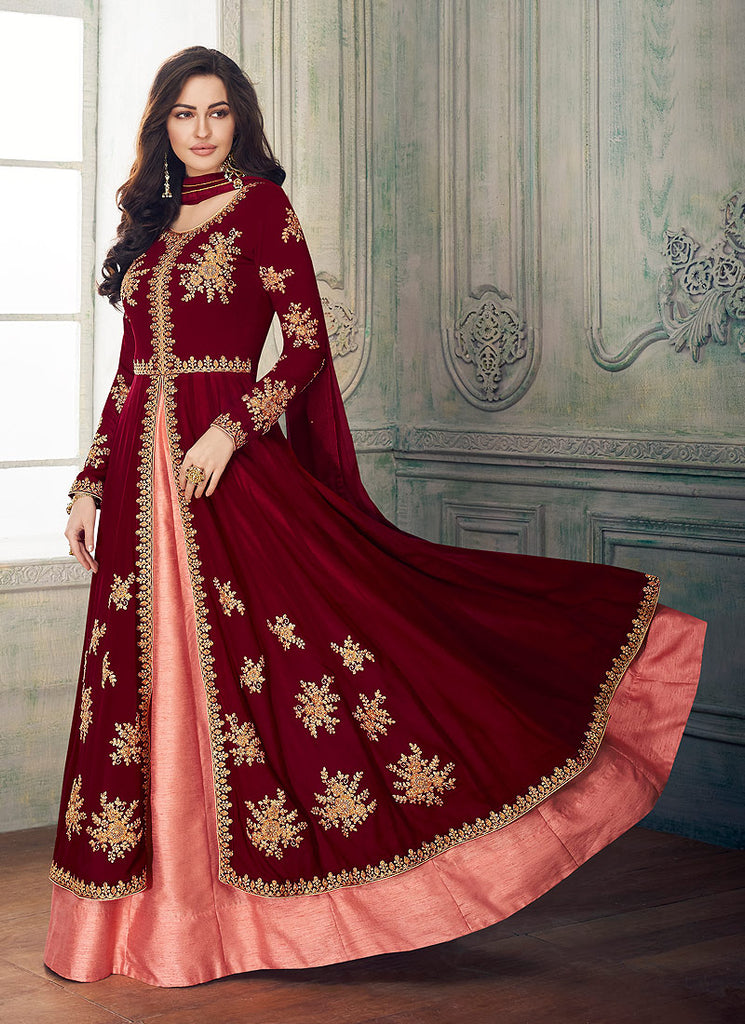 Maroon and Pink Embroidered Anarkali