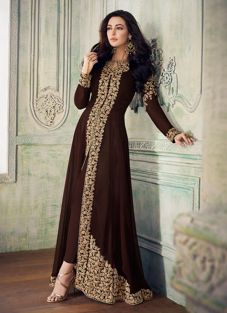 Dark Brown and Gold Embroidered Pant Style Anarkali