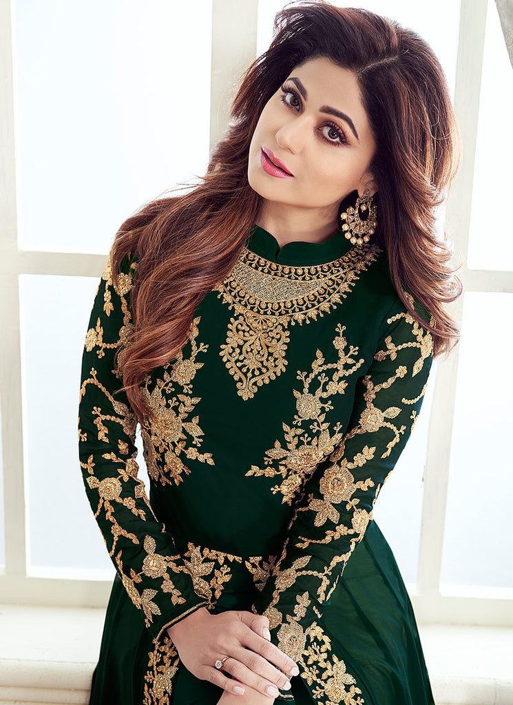 Green and Gold Embroidered Pant Style Anarkali