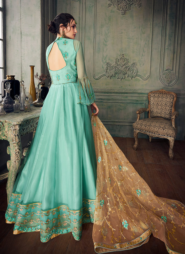 Sea Green and Gold Embroidered Anarkali