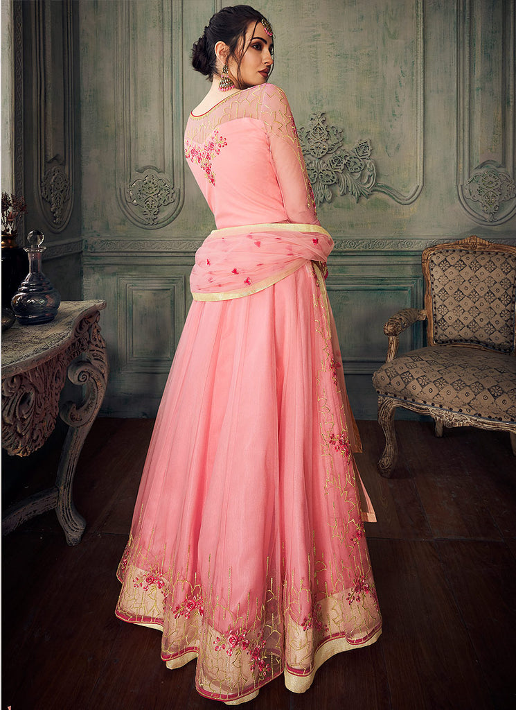 Pink Floral Embroidered Lehenga/ Pant Style Anarkali