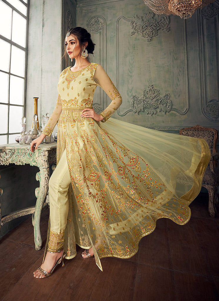 Lemon Green Embroidered Lehenga/ Pant Style Anarkali
