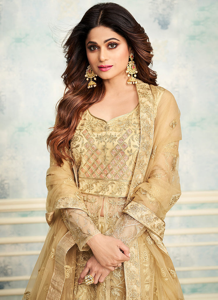 Beige and Gold Embroidered Lehenga Anarkali