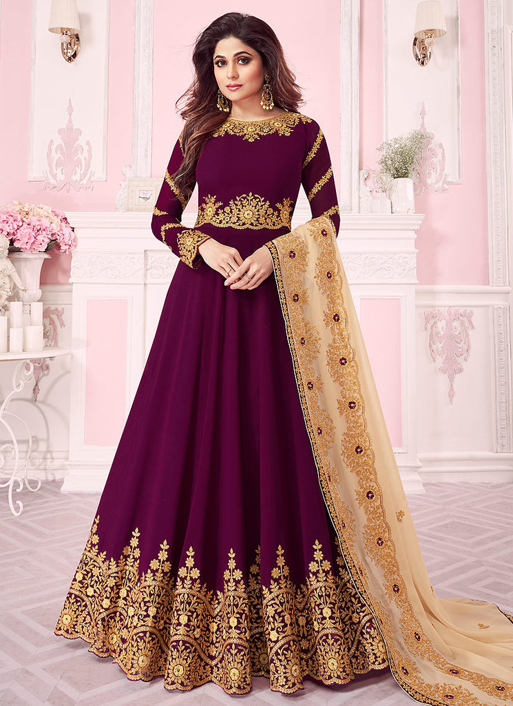 Purple and Beige Embroidered Anarkali