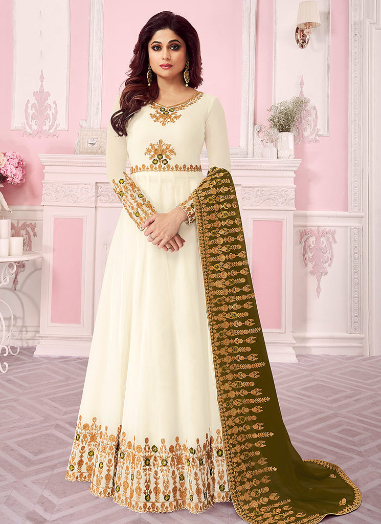 Cream and Green Embroidered Anarkali