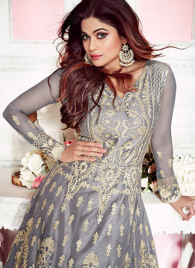 Grey Heavy Embroidered Anarkali